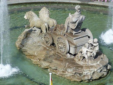 Fountain, Madrid, Spain, Space, Castile, Capital