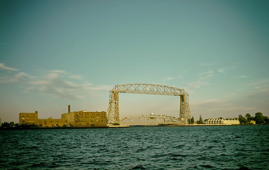 Duluth, Minnesota, Sky, Clouds, Lift Bridge