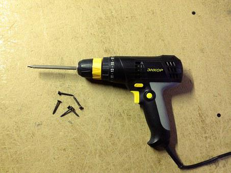 Drill, Screwdriver, Black, On The Table, Table, Tool