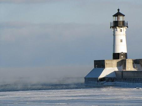 Lighthouse, Winter, Cold, Duluth, Minnesota