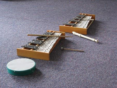 Flute, Xylophone, Drumsticks, Tambourine, Drum