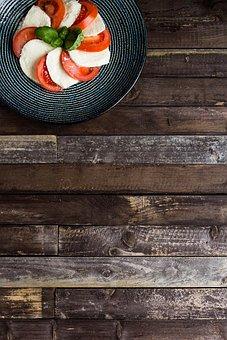 Tomato, Background, Wooden, Mozzarella, Snack, Fresh
