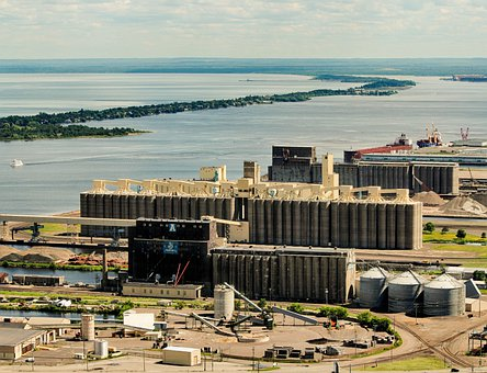 Grain Elevators, Harbor, Harbour, Dock, Lake Superior