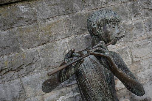Flute, Music, Art, Statue, Instrument, Woodwind, Wall