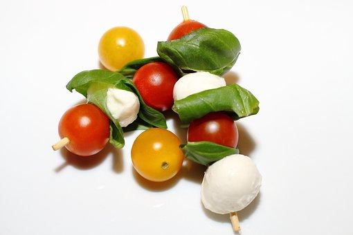 Tomatoes, Mozzarella, Italian, Vegetables, Skewers