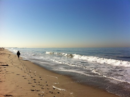 Beach, Los Angeles, Venice, Water, Waves, Track, Sand