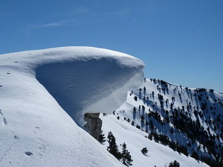 Snow Cornice, Snow, Cold, Winter, White, Blue, Mountain