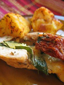 Eating, Chicken, Mozzarella, Potatoes, Baked, Tomatoes