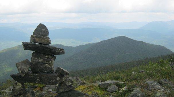 Inukshuk, Mountain, Nature, Landscape, Summit, Hiking