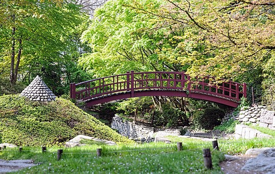 Albert Kahn Garden, Bridge, Japanese Garden, Red Bridge
