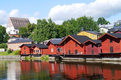 Wooden Houses, Old Town, River, Finnish, Porvoo