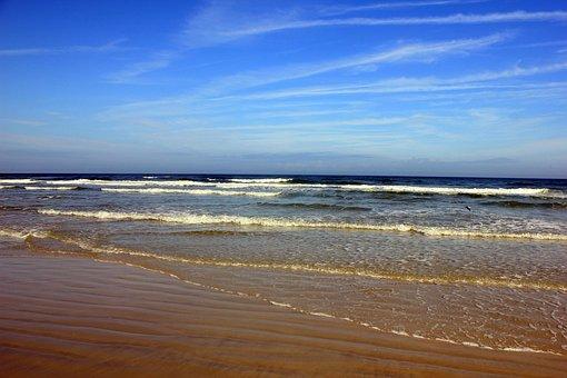 Daytona Beach, Ocean, Sky, Water, Coast, Shore, Waves