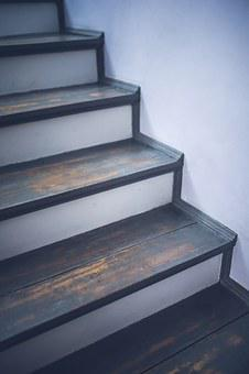 Vintage, Old, Painted, Stairs, Wood, Wooden, Gray, Grey