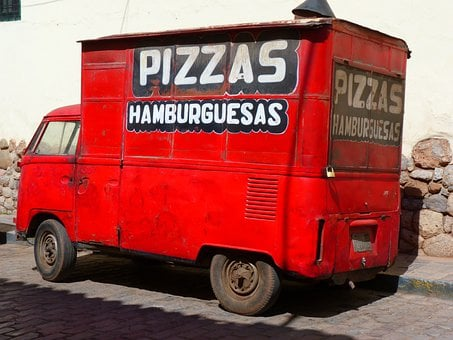 Pizza Service, Order Pizza, Pizza, Vehicle, Truck, Red