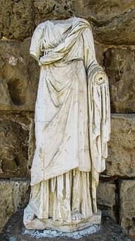 Cyprus, Salamis, Statue, Woman, Tunic, Archaeology