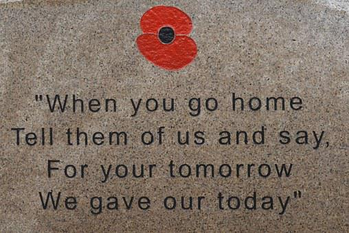 War, Memory, Poppy, Monument, Quote