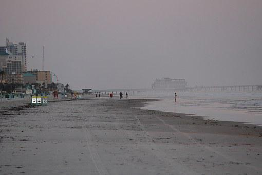 Daytona, Shore, Ocean, Sea, Beach, Seascape, Sky, Water