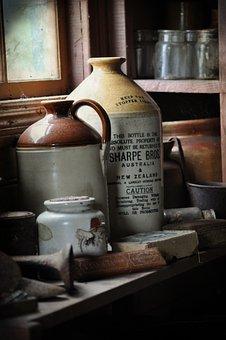 Old, Bottle, Window, Dust, Dusty, Abandoned, Shelf