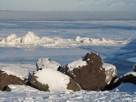 Ice, Lake Superior, Duluth, Winter, Nord, Cold