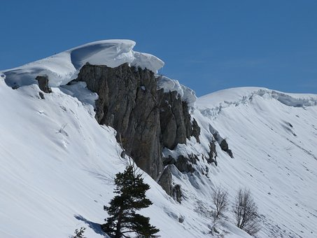 Snow Cornices, Landscape, Mountain, Winter, Snowy, Snow