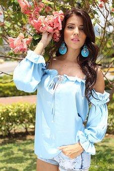 Woman, Flower, Blue Blouse, Model, Spring, Shorts