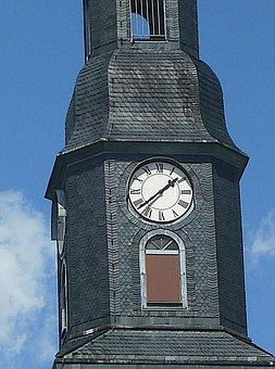 Clock Tower, Steeple, Church, Brand-erbisdorf, Clock