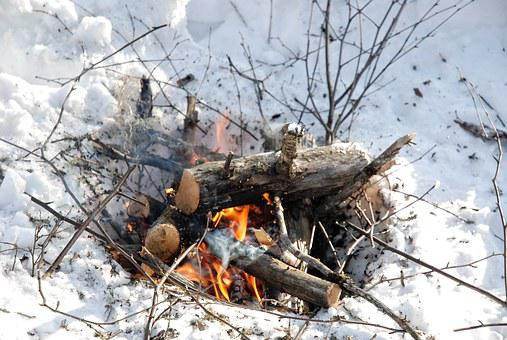 Camp Fire, Winter, Fire, Snow, Outdoor, Cold, Flame