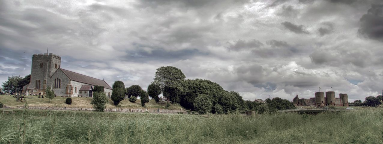 Landscape, Clouds, Castle, Grass, Old, Church, Heritage