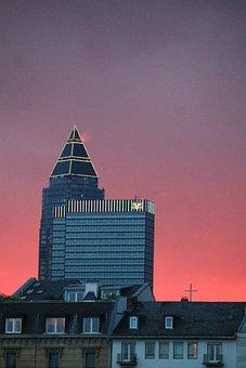 Frankfurt, Messeturm, Sunset, Frankfurt Am Main Germany