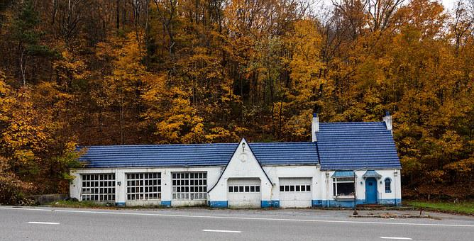Panorama, Pure Oil, Gas Station, Old, Abandoned, Closed