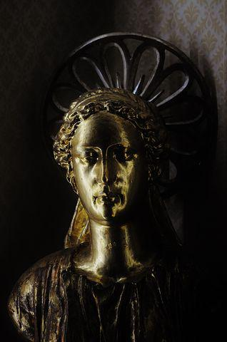 Mary, Holy, Figure, Statue, Golden, Bronze, Religion