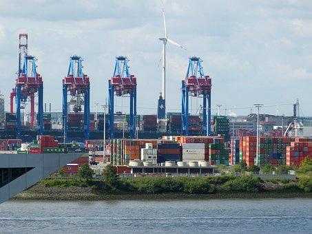 Hamburg, Altona, Port, Cranes, Elbe