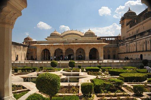 Jaipur, Amber Fort, Rajasthan, India, Garden, Palace