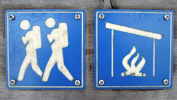 Character, Sign, Camp, Campfire Site, Fire, Man, Walk