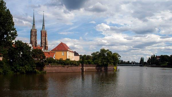 Wroclaw, Church, River, Or, Old Town, Panorama