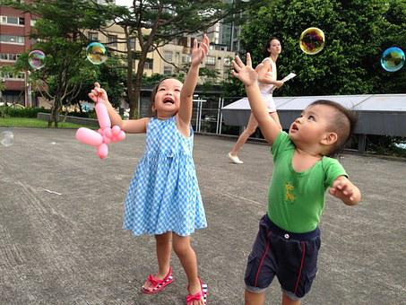 Kids, Qing Zi, Park, Bubble, Qi Ball