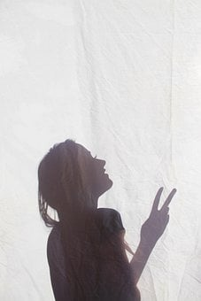 Silhouette, Girl, Shadow, Peace, Hippie, Peace Fingers