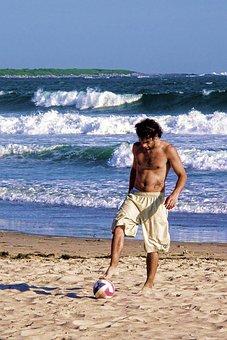 Young, Play, Ball, Beach, Soccer, Sea, Waves, Heat