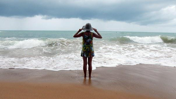 Young Woman, Beach, Sea, Water, Sand, Wave, Girl