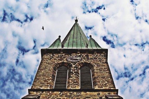 Church, Clouds, Sky, Bird, Steeple, Mood, Blue, Tower