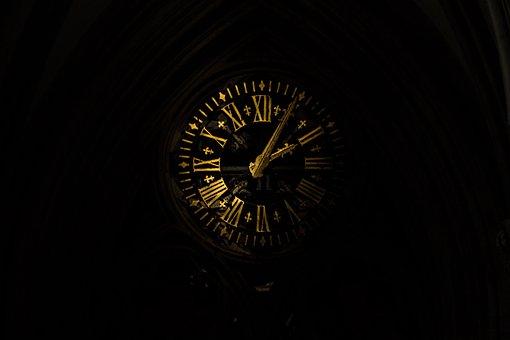 Clock, Time, Old, Roman, Church, Dark, Night, Rest