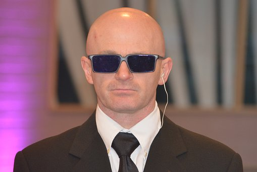 Bodyguard, Sunglasses, Costume, Porter, Bald, Man