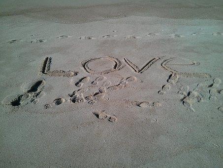 Love, Sand, Word, Writing, Beach, Valentine, Ocean