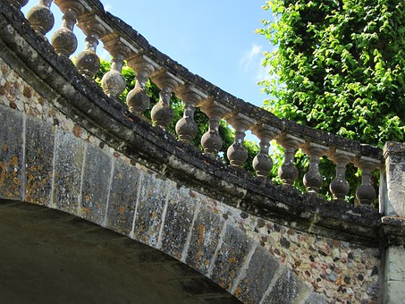 Villandry, Chateau, Bridge, Railing, Stone, Renaissance