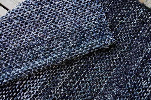 Carpet, Rag Rug, Farkkuräsymatto, Slip Surface, Blue