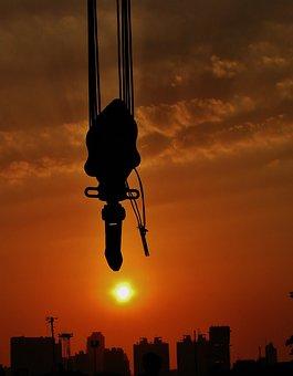 Crane, Hook, Sunset, Skyline, City, Silhouette