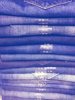 Jeans, Jeans Stack, Blue, Blue Canvas, Garment, Fabric