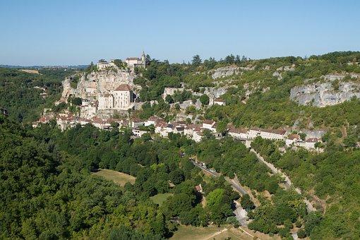 Landscape, Rocamadour, Village, France, Cliff, Alzou