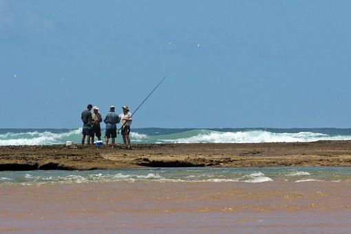 Fisher, Sea Angling, Fishermen, Men, Sand Spit, Rod