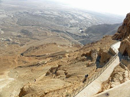 Masada, Desert, Israel, Stone, Travel, East, Fortress